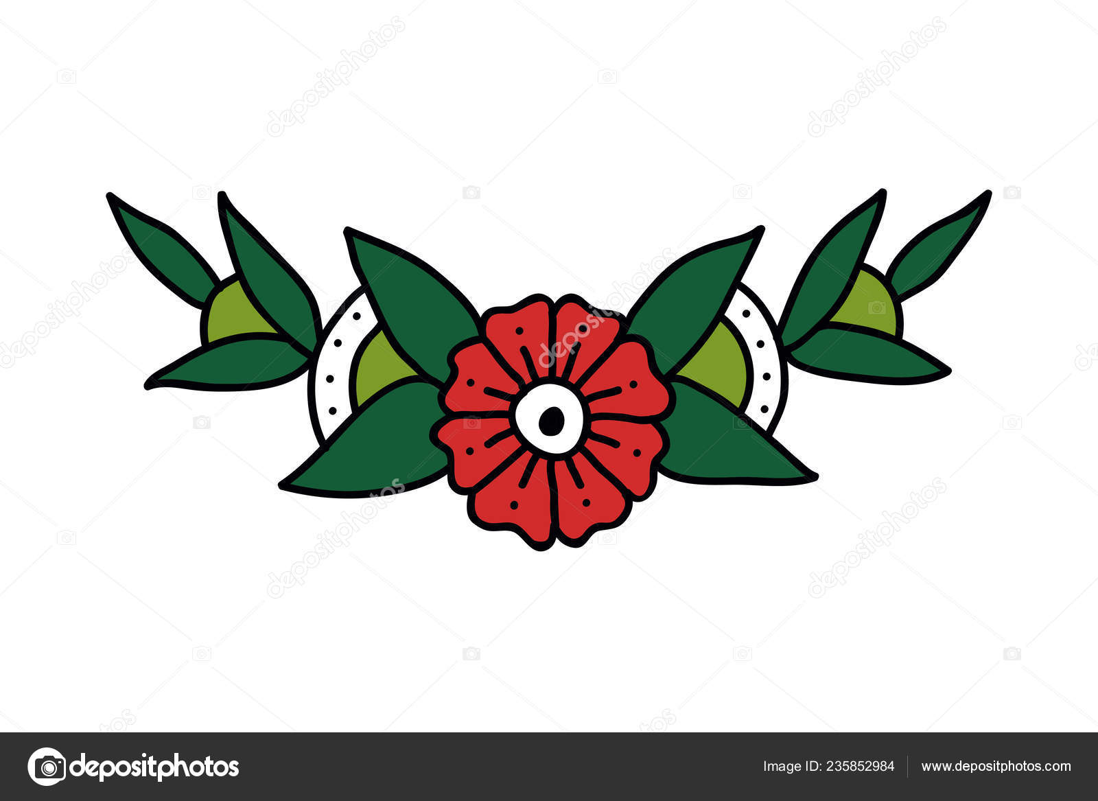 3ce1397f4 Flowers Illustration Traditional Tattoo Flash — Stock Vector ...