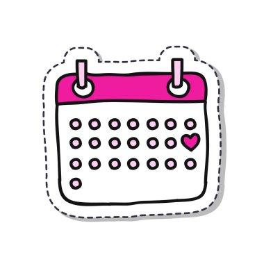 calendar February doodle sticker icon