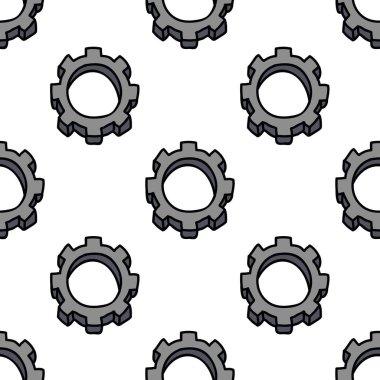 gear wheel seamless doodle pattern