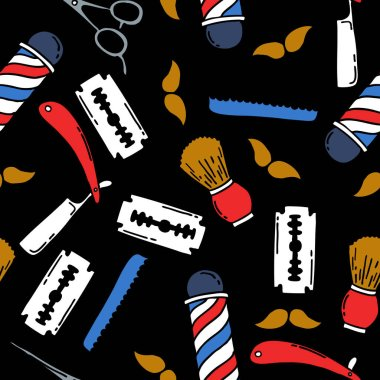 barbershop seamless doodle pattern
