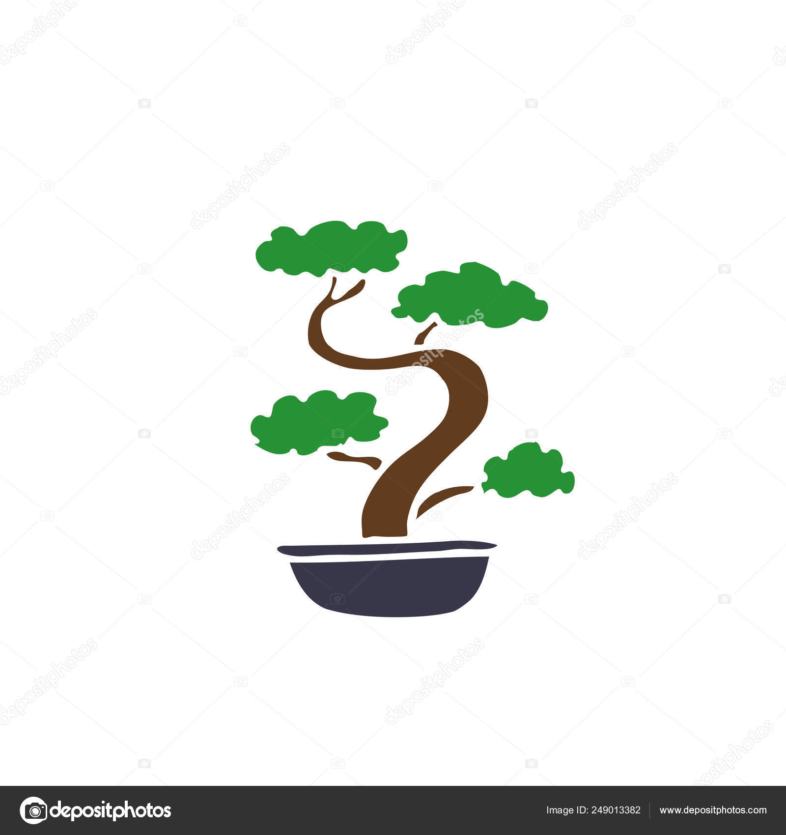 Bonsai Doodle Bonsai Tree Doodle Icon Stock Vector C Pani Chernous 249013382