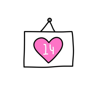 14 February calendar doodle icon