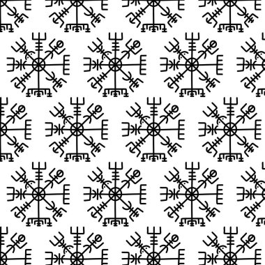 Vegvisir scandinavian symbol doodle pattern, vector color illustration icon