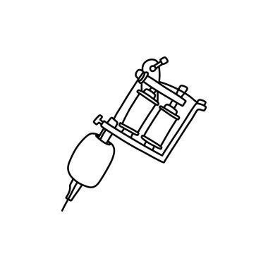 Tattoo machine doodle icon, vector color illustration icon