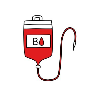Blood transfusion bag doodle icon, vector color illustration icon