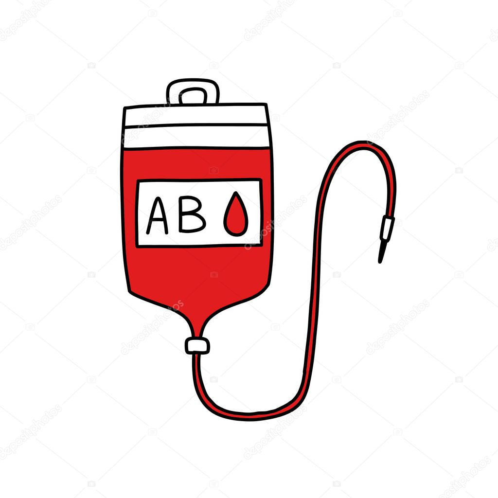 Blood transfusion bag doodle icon  vector color illustration icon