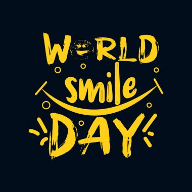World smile day. Hand drawn typography poster design. Premium Vector. icon