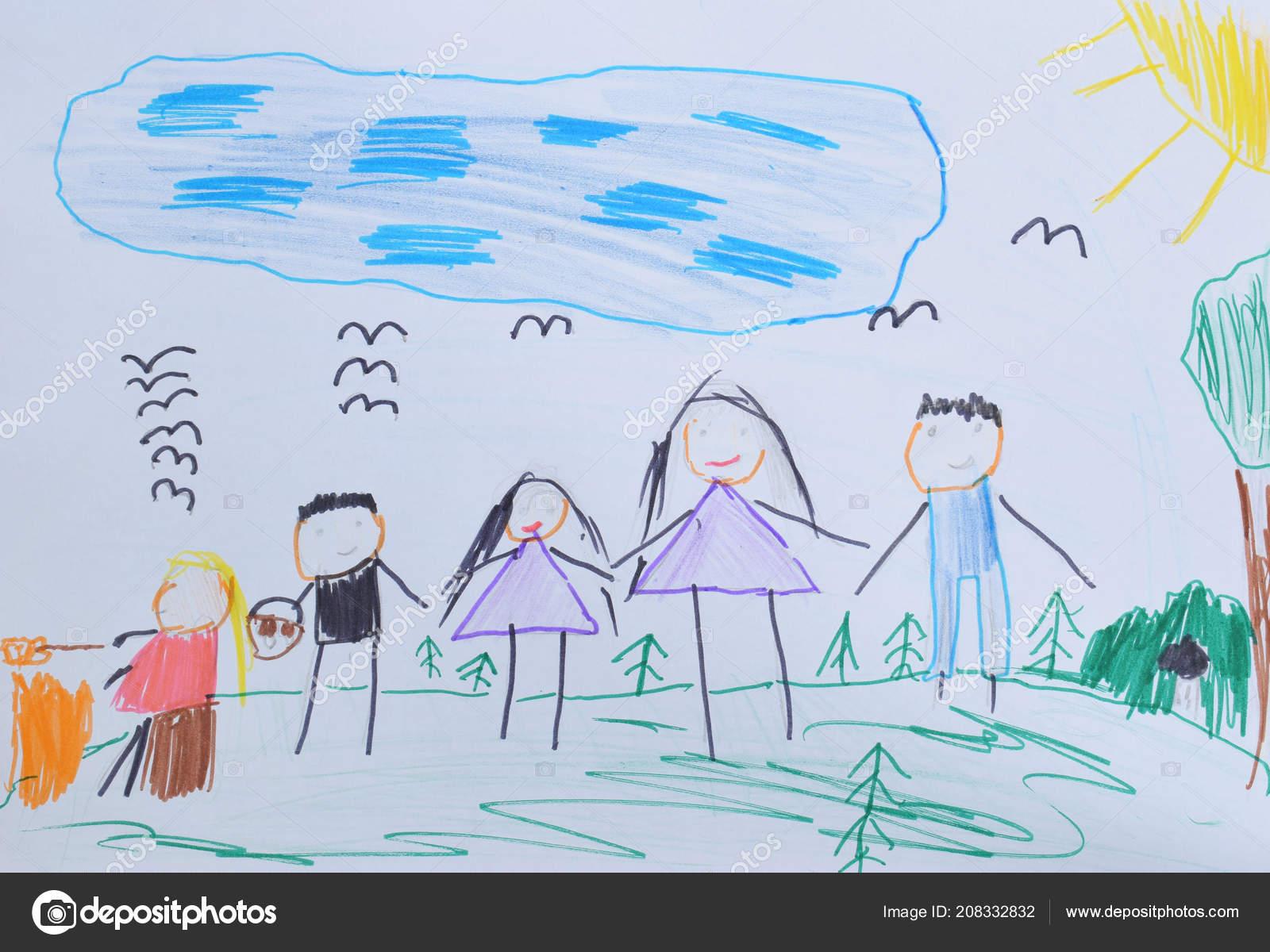 Dessin Pour Enfants Maman Papa Enfants Marcher Dans Forêt