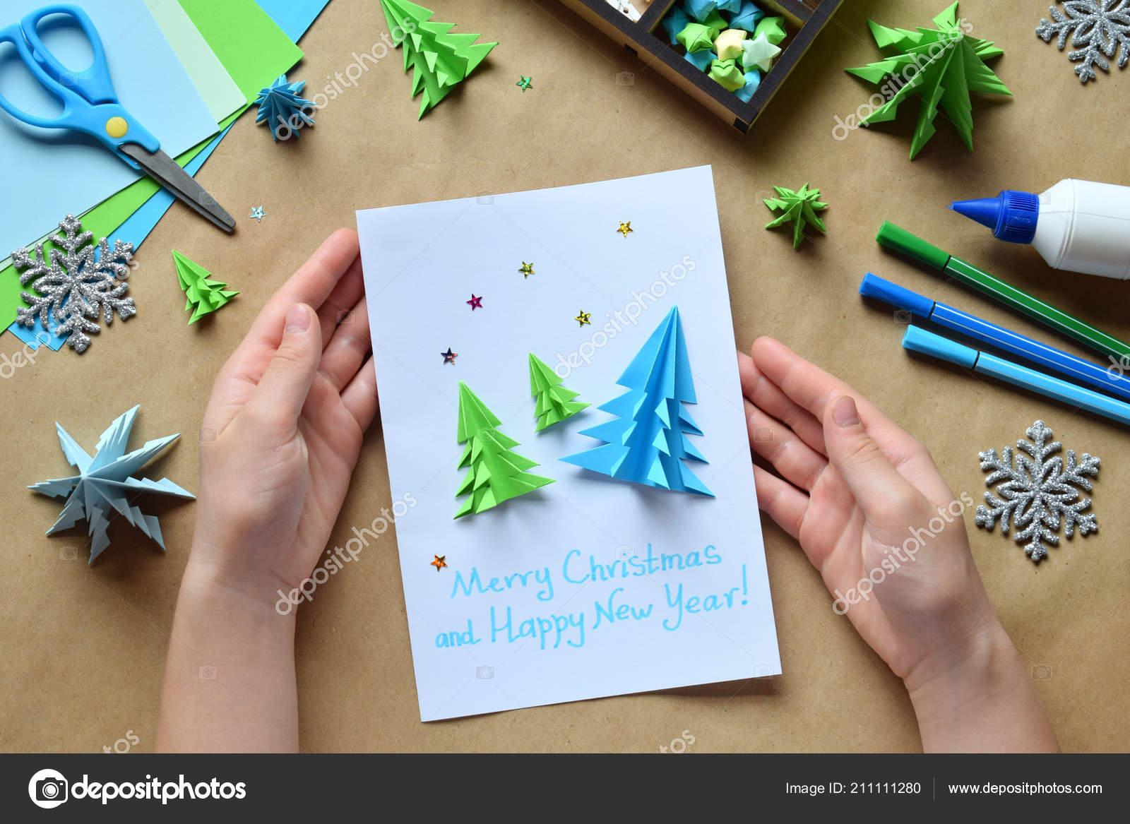 Making Greeting Card Origami Xmas Tree Paper Merry Christmas