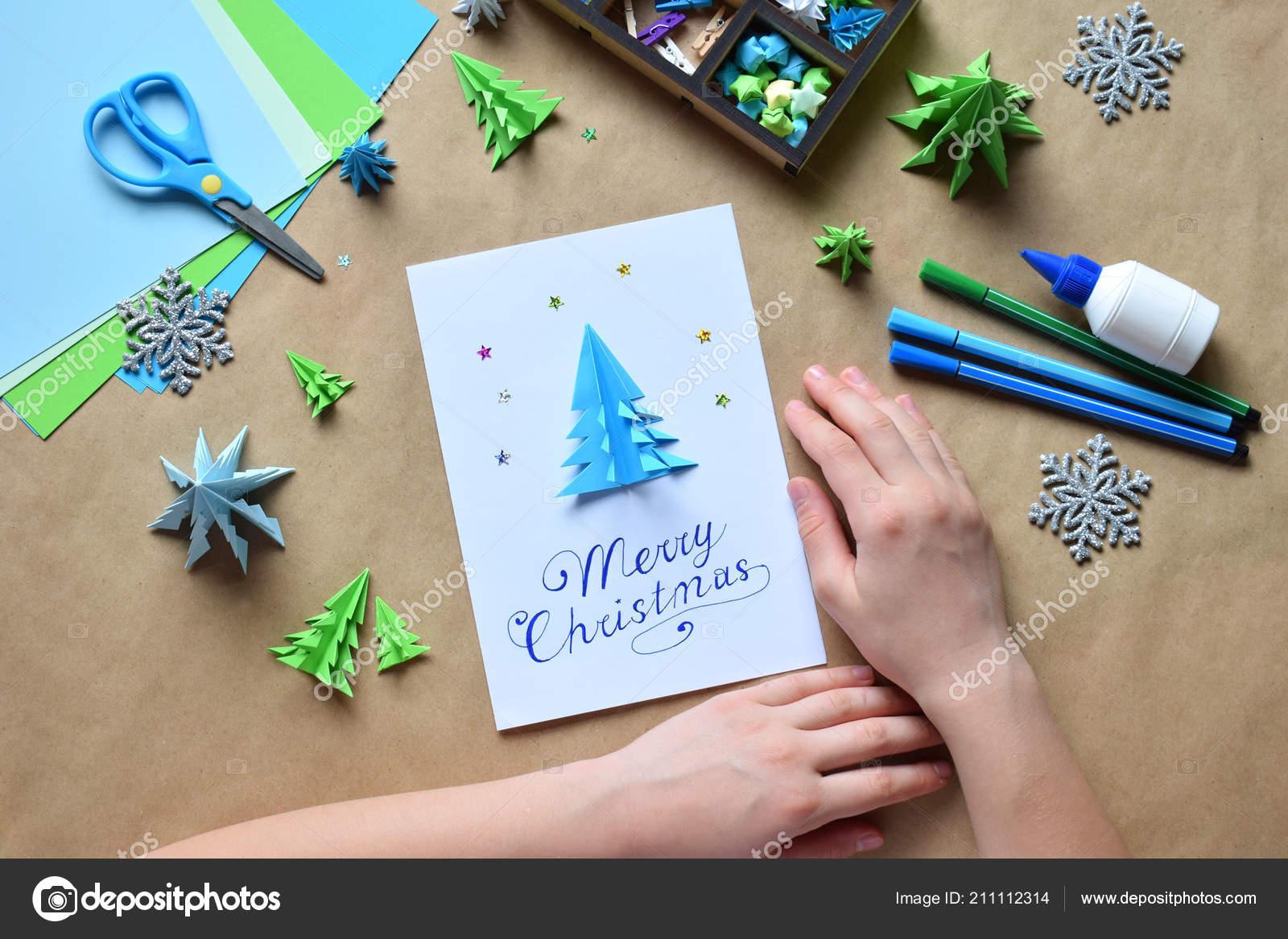 Decorar Arbol Navidad En Papel.Hacer Tarjeta Felicitacion Con Origami Arbol Navidad Papel