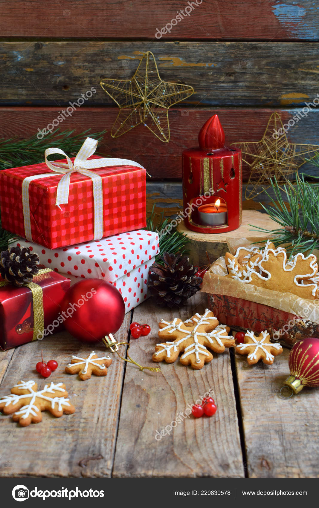 Christmas Composition Gingerbread Cookies Gifts Festive Decoration