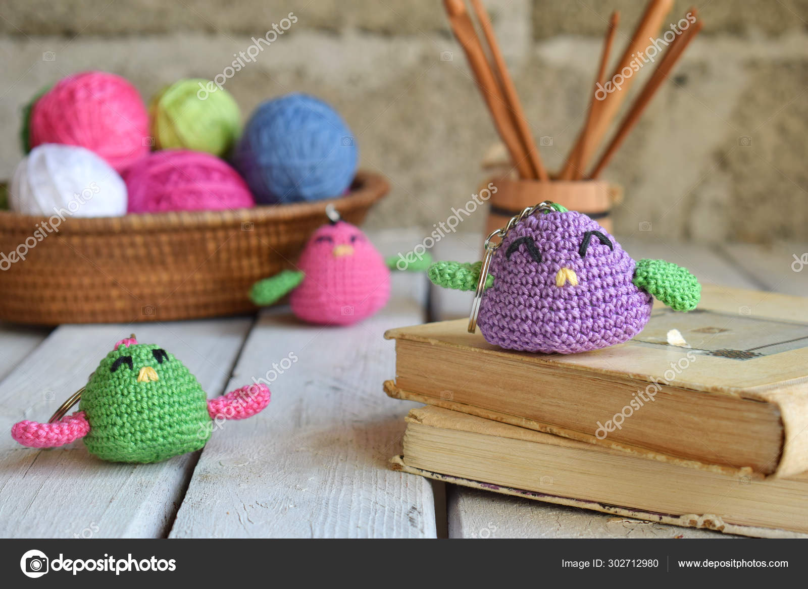 Colored Crochet Bird Toy For Babies Or Trinket Handmade