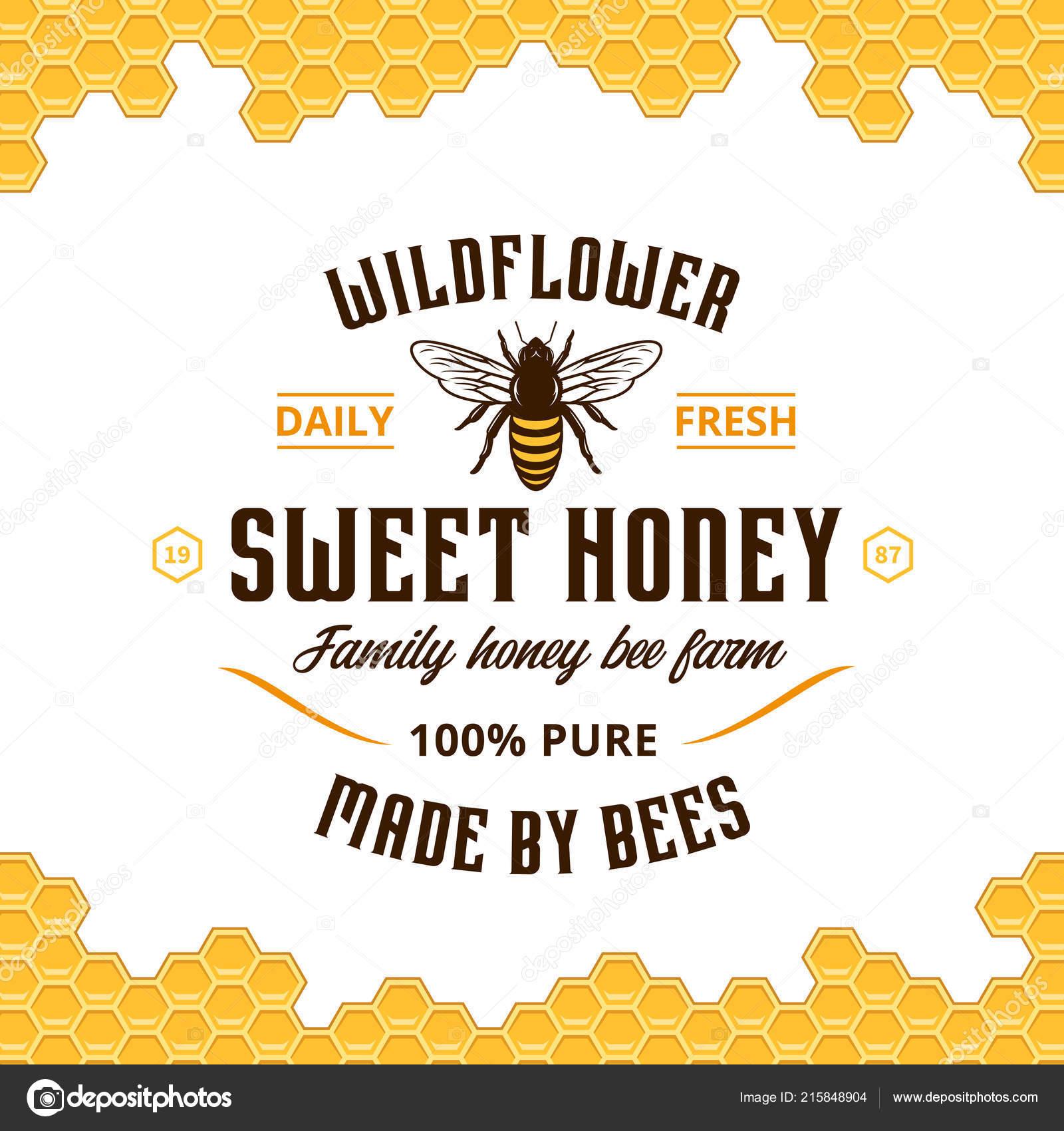Vektor Honig Vintage Logo Mit Bienen Und Waben Muster Auf