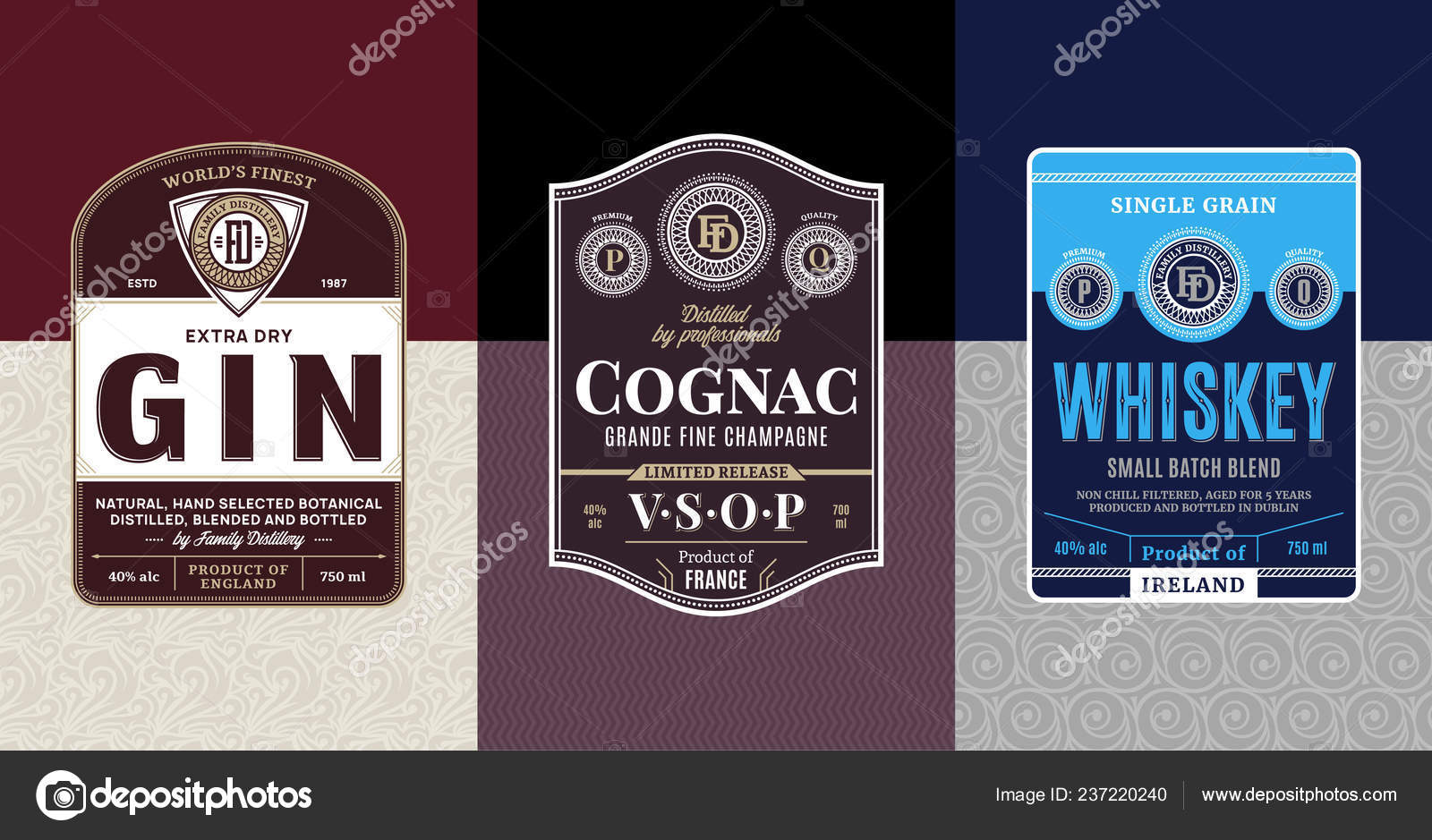Alcoholic Drinks Vintage Labels Packaging Design Templates Gin