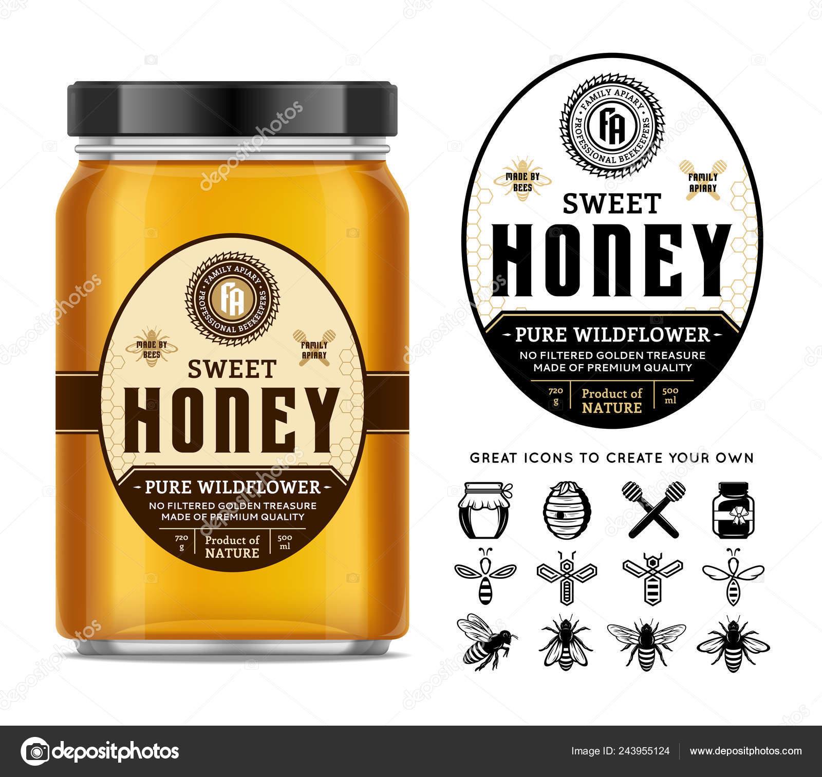 Honey Glass Jar Mockup Label Icons Apiary Beekeeping