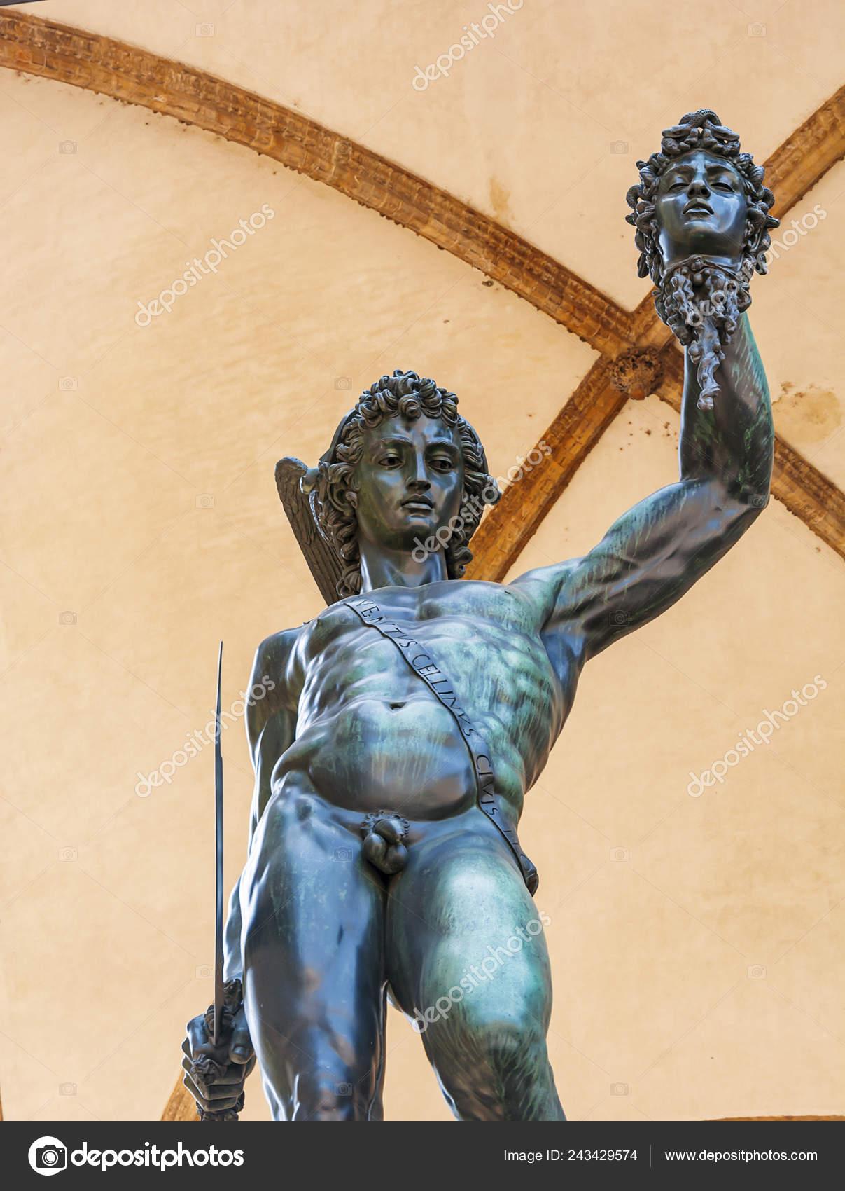 Bronze Statue Perseus Holding Severed Head Medusa Made