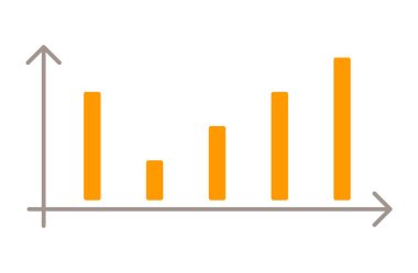 Graphic isolated on white background. Analytics chart with financial information. Result of research, business statistics graph. Orange data between arrows. Vector illustration of analysis in flat icon