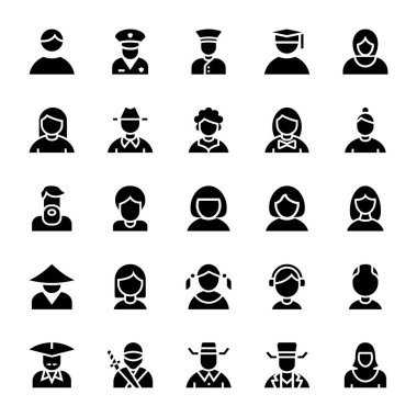 Glyph icons for avatar. icon