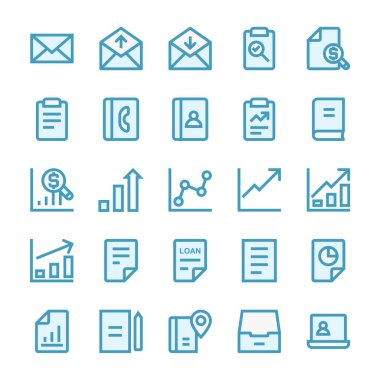 Filled outline icons for business management and growth. icon