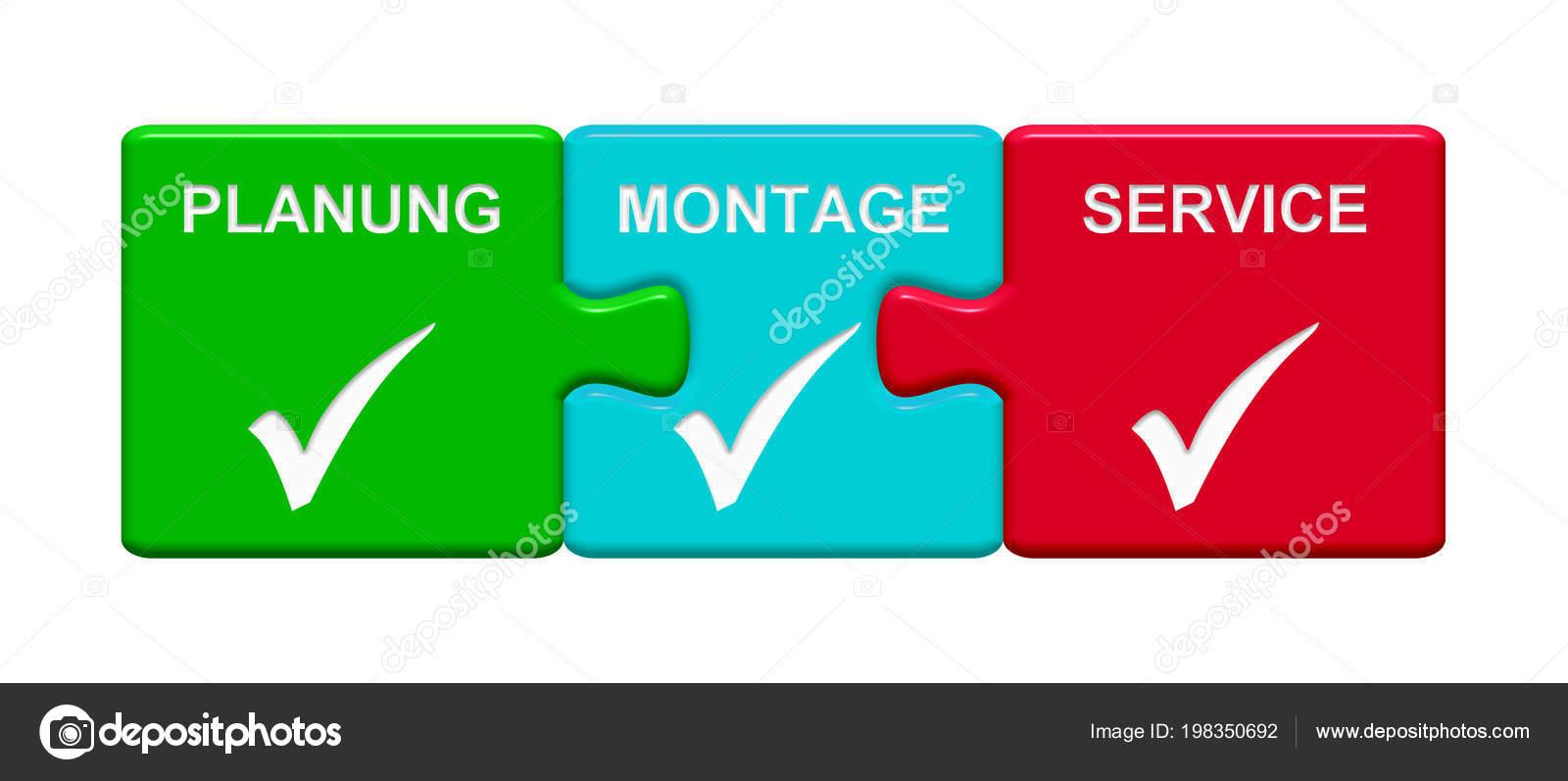 Tres Rompecabezas Botones Con Símbolo Tick Con Servicio Montaje