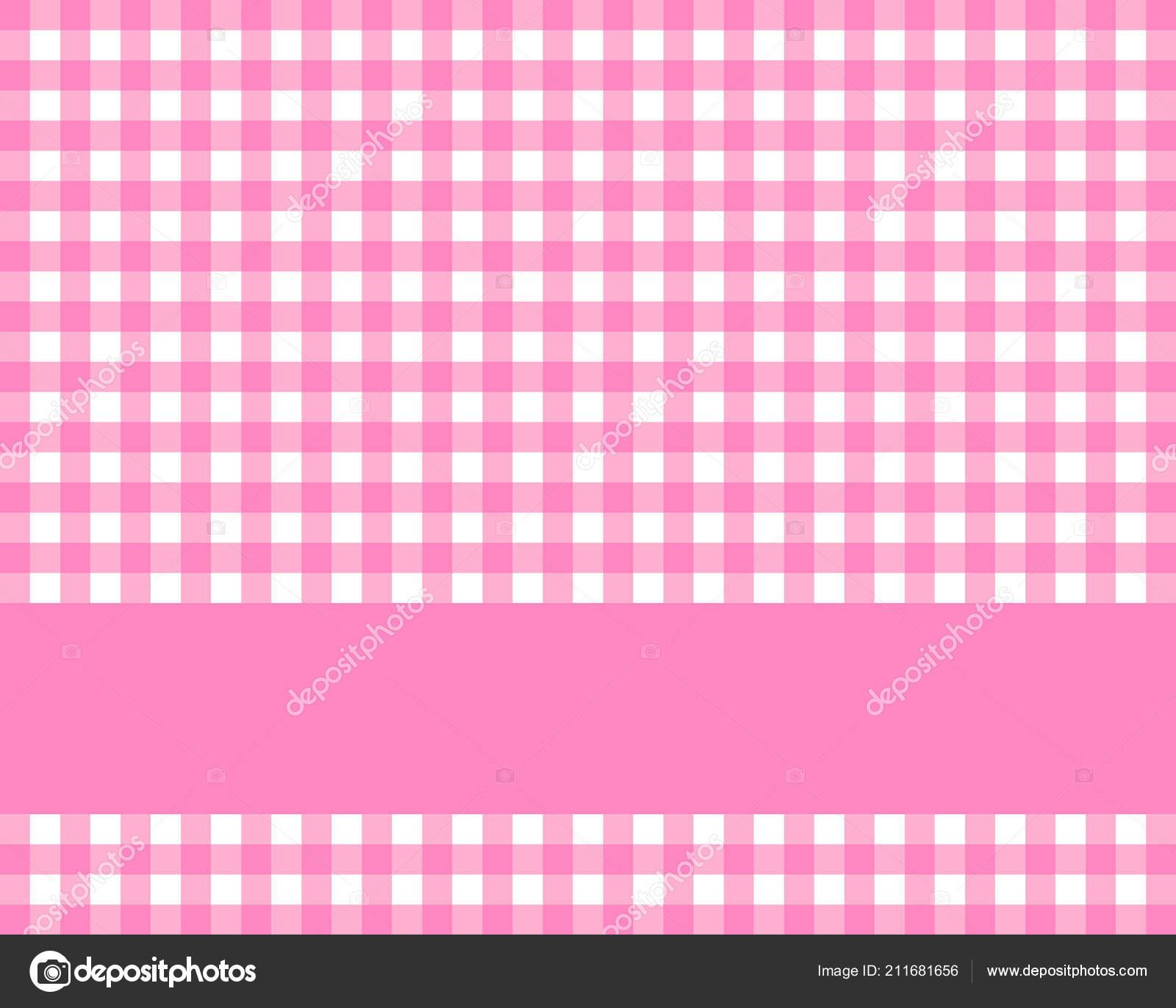 Sfondo Tovaglia Quadretti Bianco Rosa Con Striscia Foto Stock