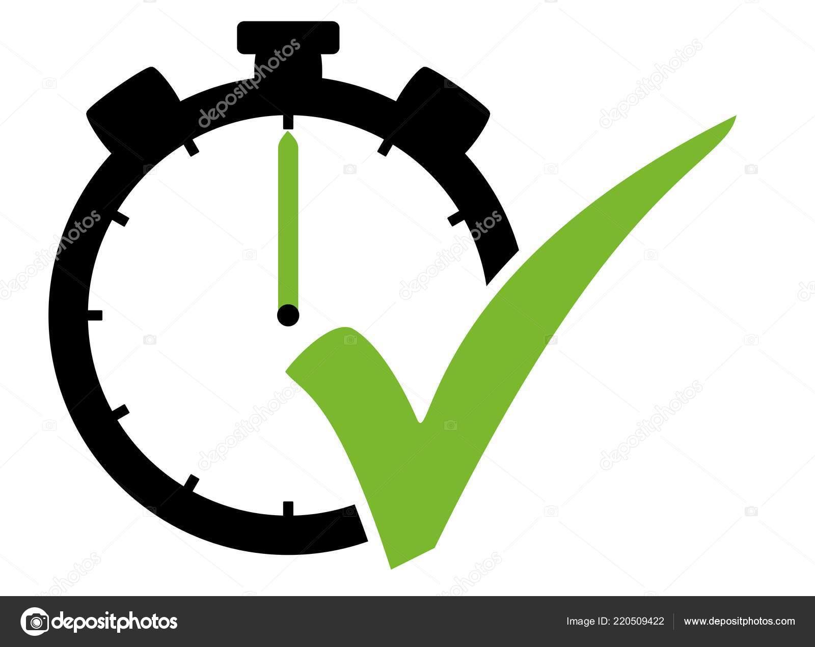 Icono Cronómetro Con Símbolo Tick Verde Fotos De Stock Keport