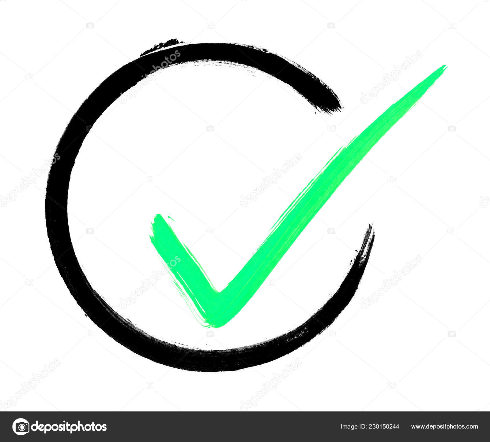 Hand Painted Black Brush Circle Green Tick Symbol — Stock Photo