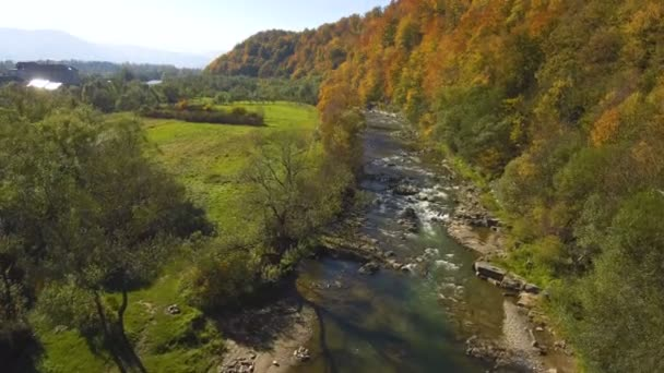 Aerial, top view from Drone: flying over the mountain with forest and river. Forest yellow autumn color. River at the foot of the mountain.