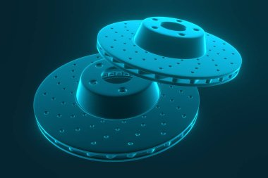 3D rendering. Auto spare parts for car, brake disk