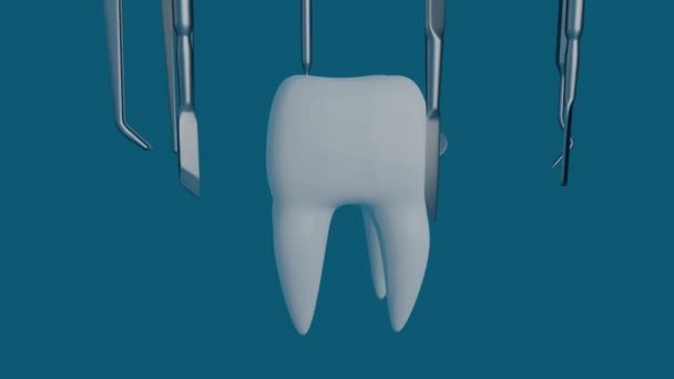 Tooth on a blue background with a dentist tool.