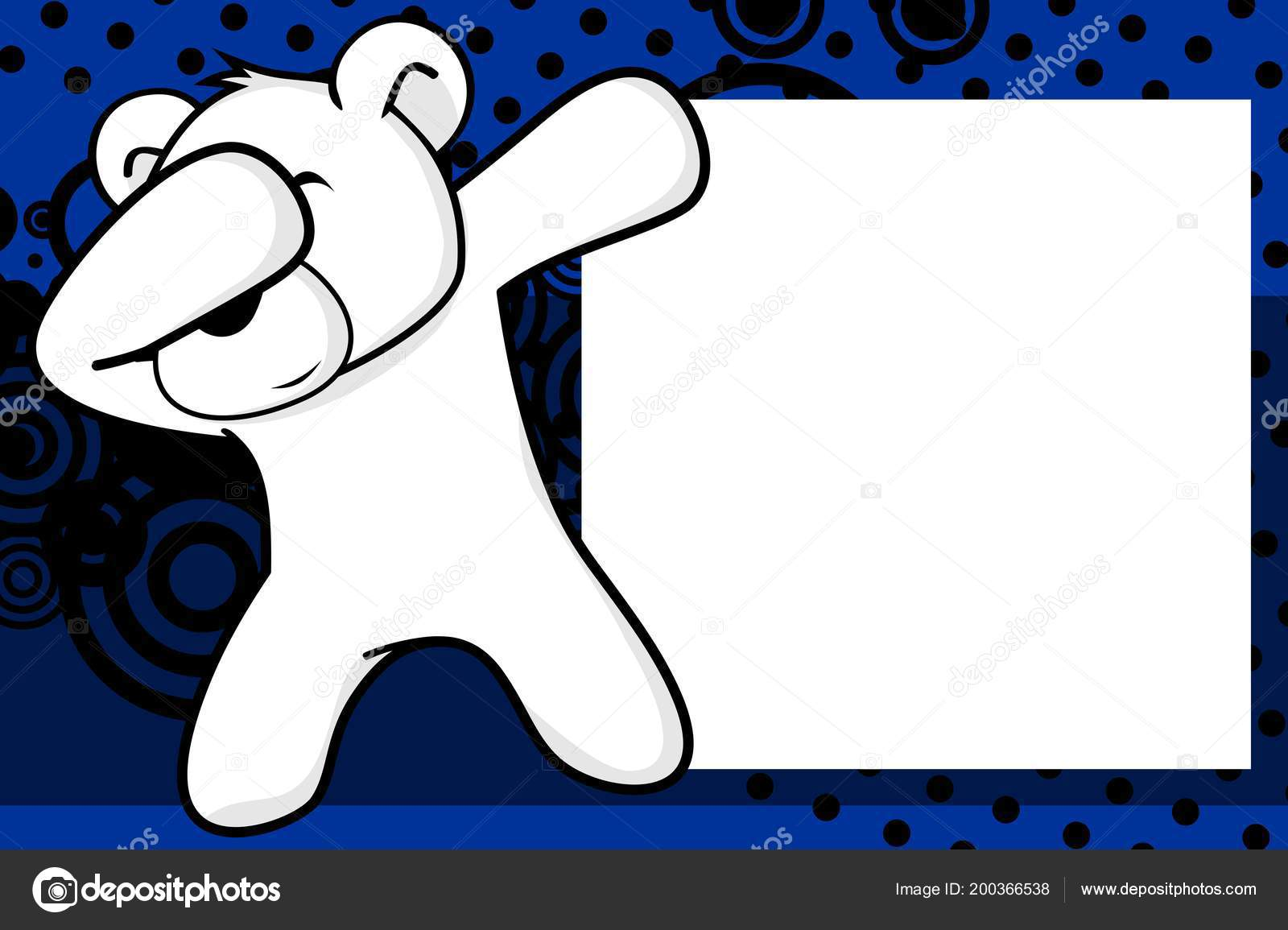 Tamponare Tamponando Posa Orso Polare Bambino Cartone Animato Foto