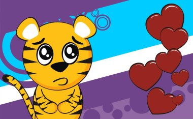 funny young tiger cartoon expression background in vector format