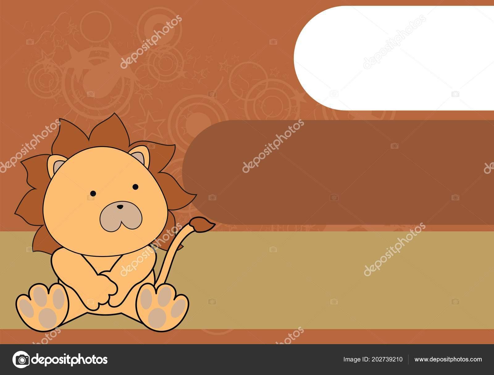 Roztomily Sedici Baby Lev Kreslene Pozadi Vektorovem Formatu Velmi
