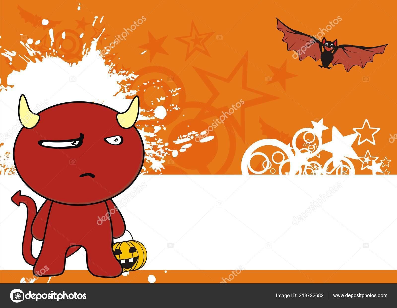 Mignon Enfant Démon Rouge Kawaii Style Dessin Animé