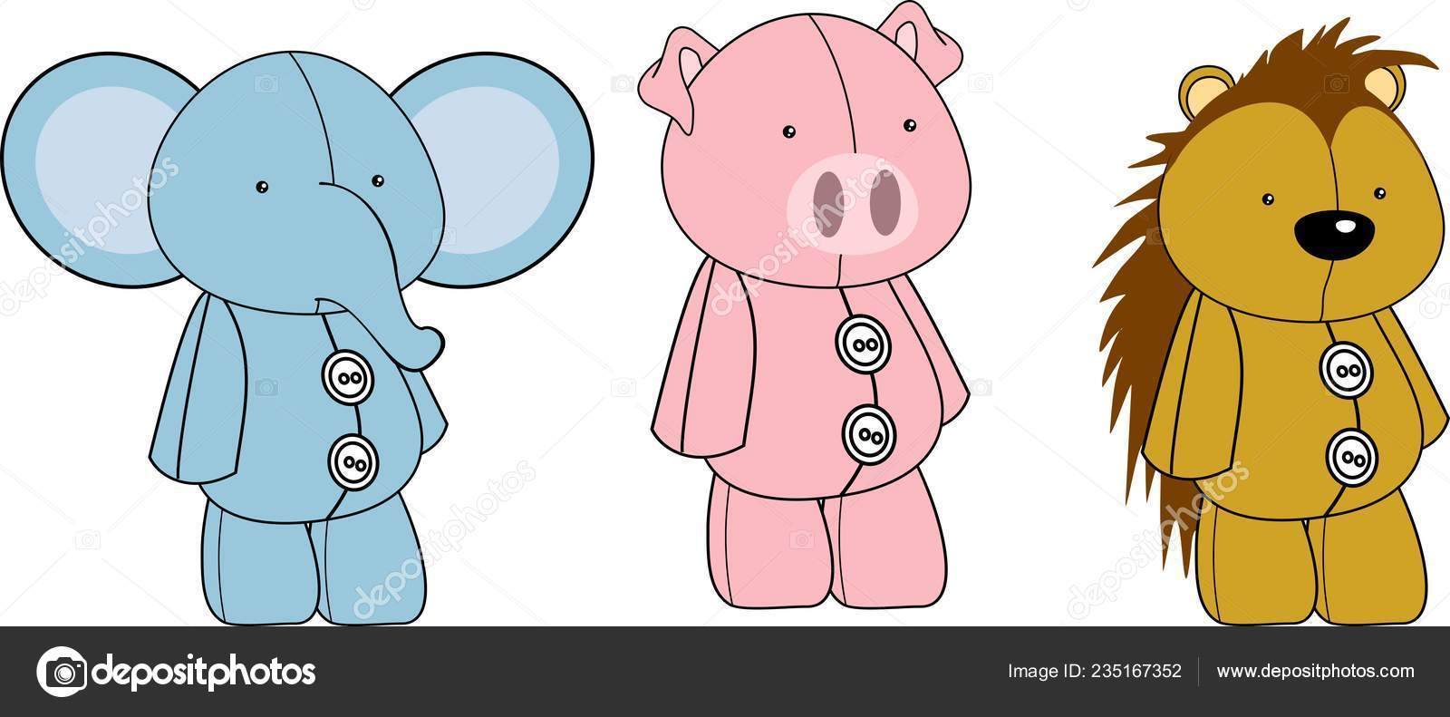 Image of: Cream Cone Kawaii Animals Plush Toy Cartoons Collection Set In Vector Format Very Easy To Edit Vector By Hayashix23 Depositphotos Kawaii Animals Plush Toy Cartoons Collection Set Vector Format Very