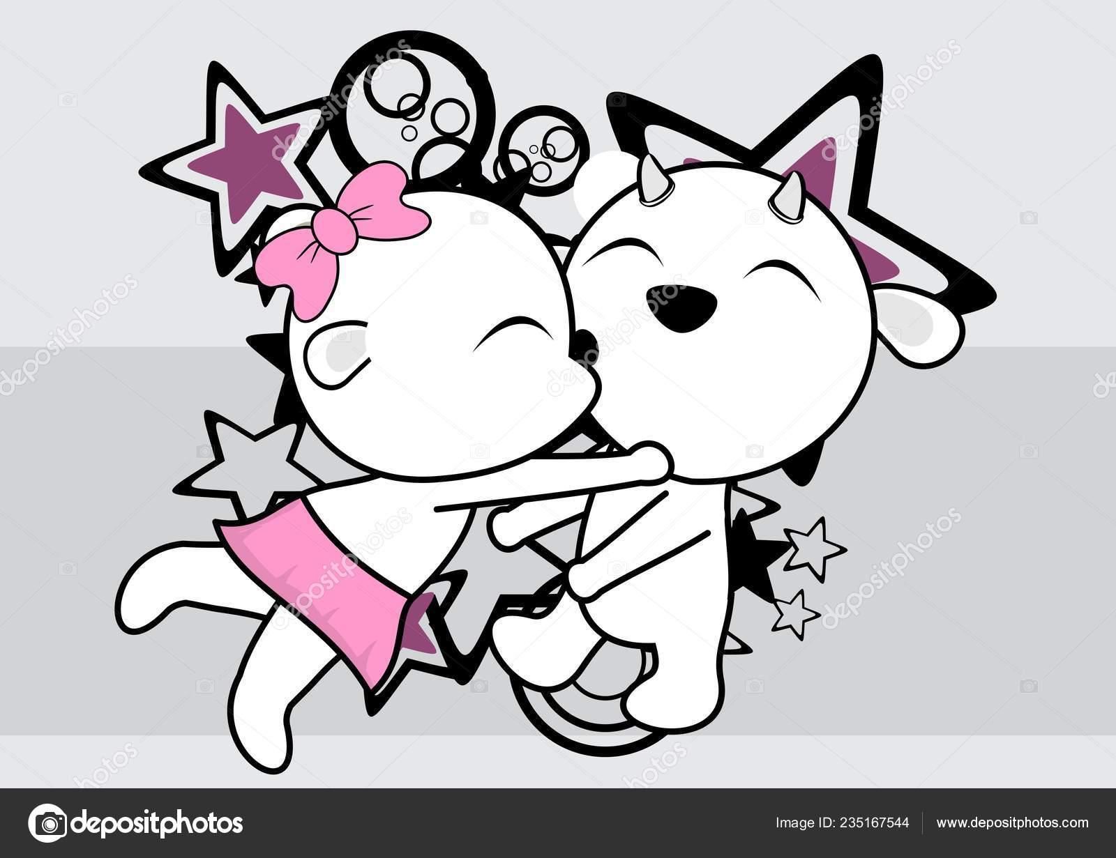 Kawaii Mignon Chèvre Couple Dessin Animé Saint Valentin