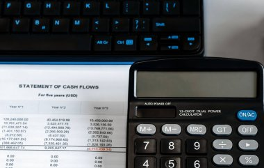 calculator on financial papers at the table close up