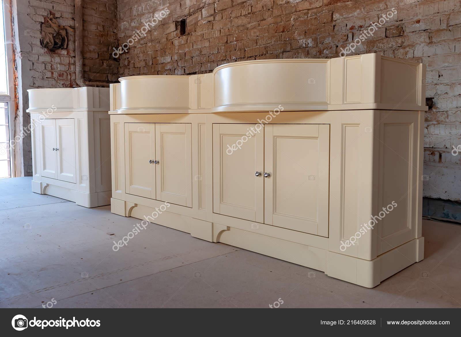 Bathroom Vanity Cabinet Two Washbasins Old Brick Wall
