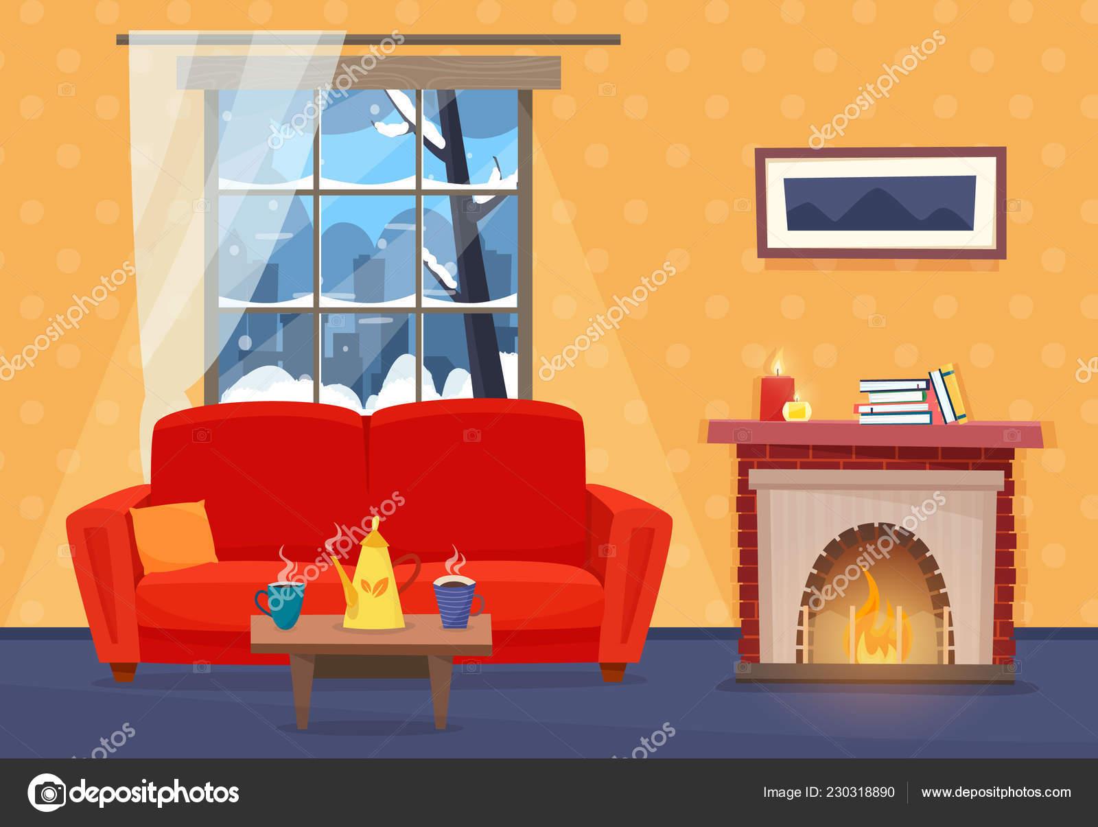 Soggiorno con mobili. interni con divano finestra con paesaggio
