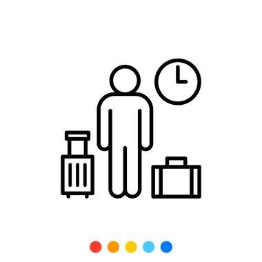 Traveler or tourist linear icon, Vector. icon