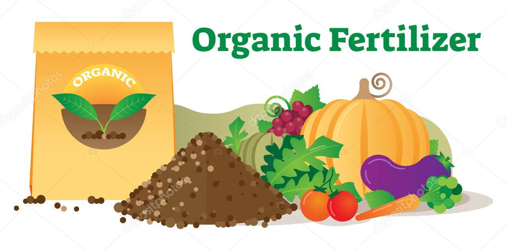 Organic fertilizer conceptual vector illustration with package, leafs, soil and vegetables. Ecological agriculture farming.