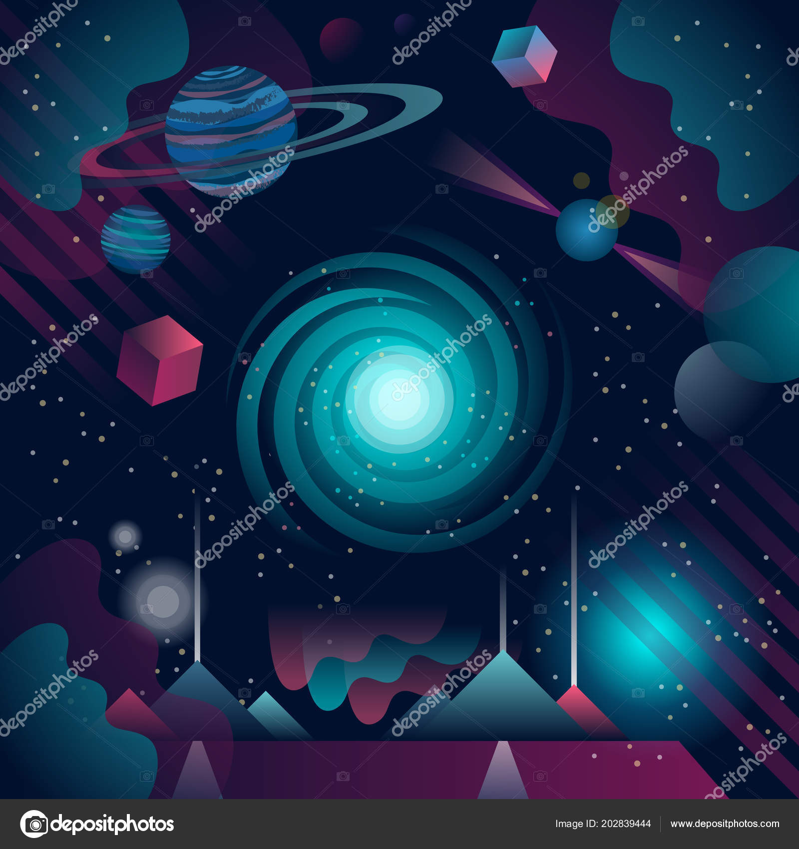 vector illustration of futuristic and abstract cosmos background