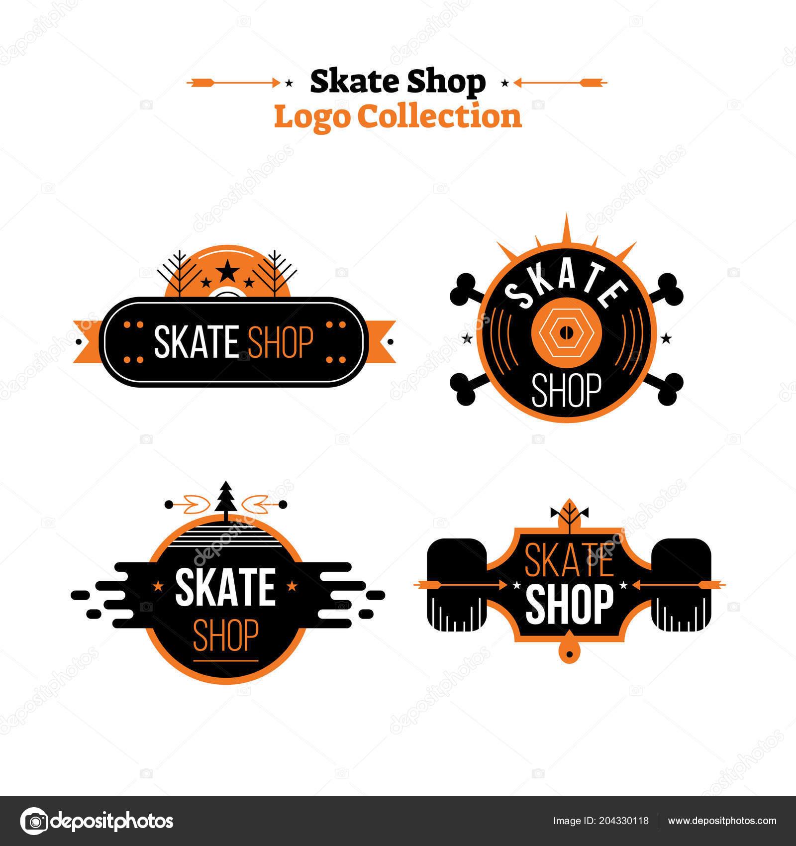 478381ec97b973 Skate shop Logo-Sammlung-Vektor-Illustration. Flache Symbol mit ...