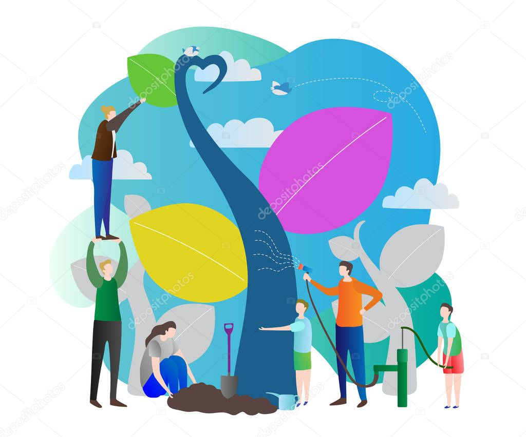 Sapling process modern vector illustration with nurturing nature, world ecology care for green future of the planet earth. Group of people working together in stylized outdoors nature garden.