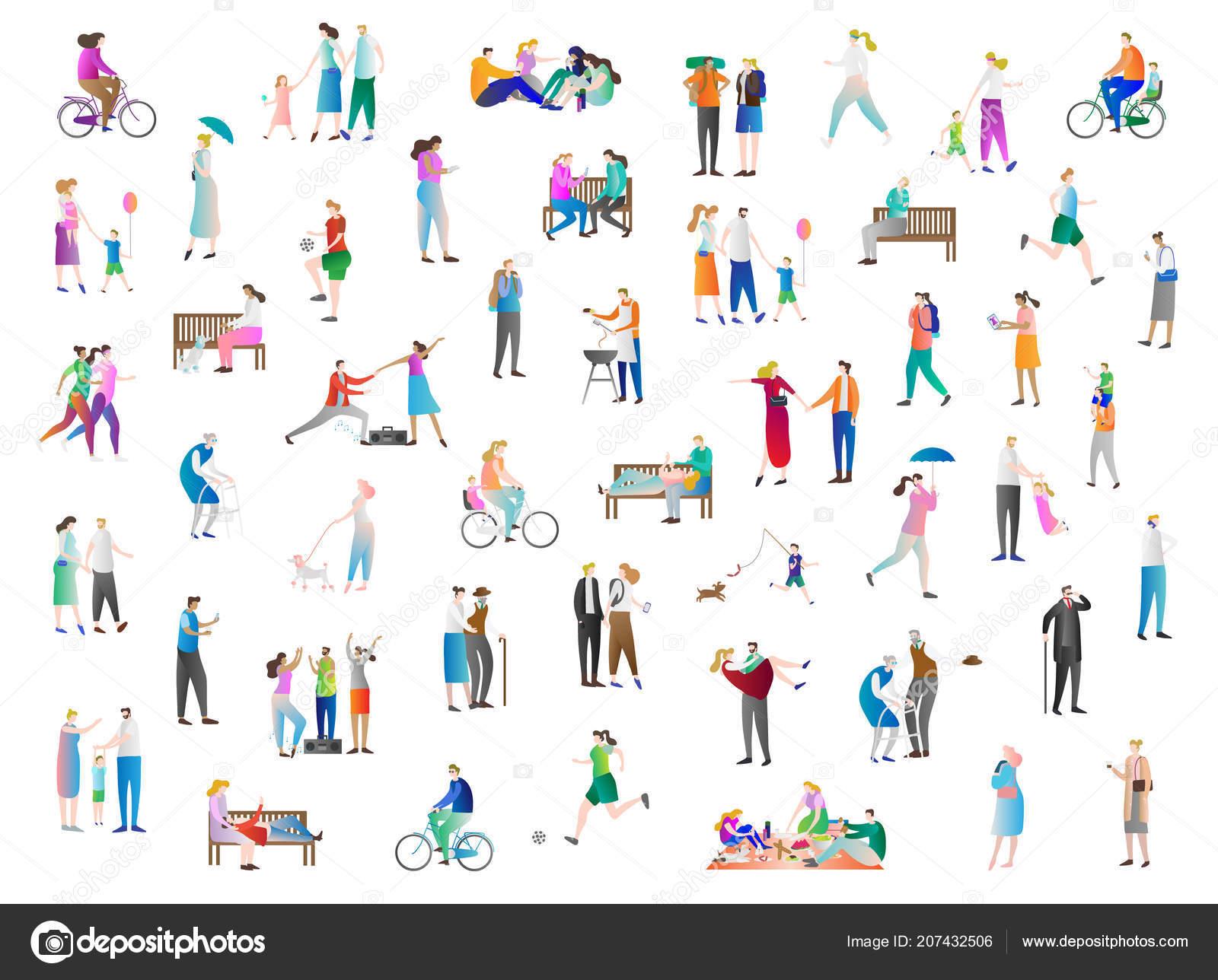 Ilustración del vector ocio el conjunto de colección de iconos. La familia  disfrutar de vacaciones 772d998f323