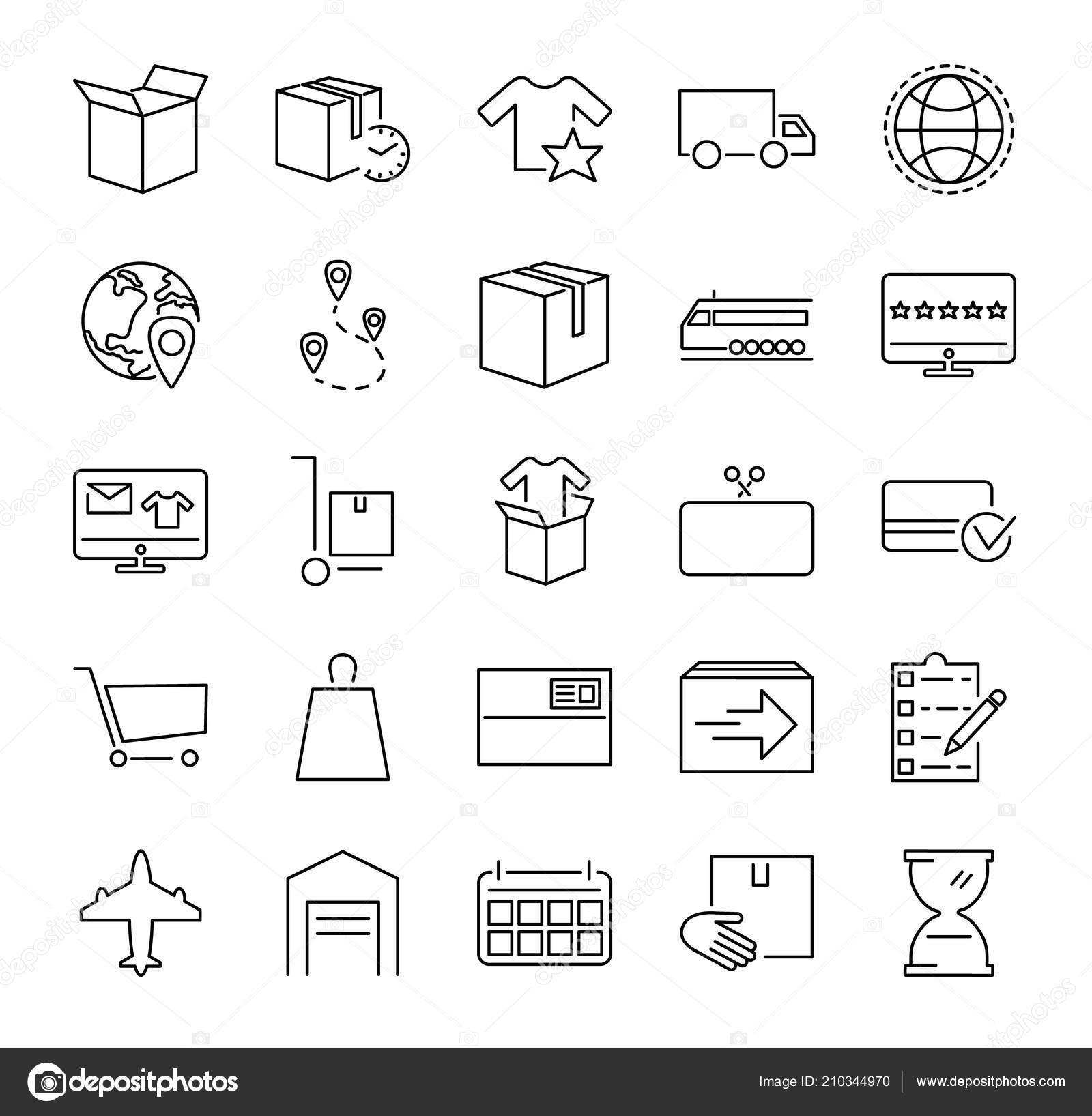 Bestellen Sie Erfüllung Vektor Illustration Icons Sammlung