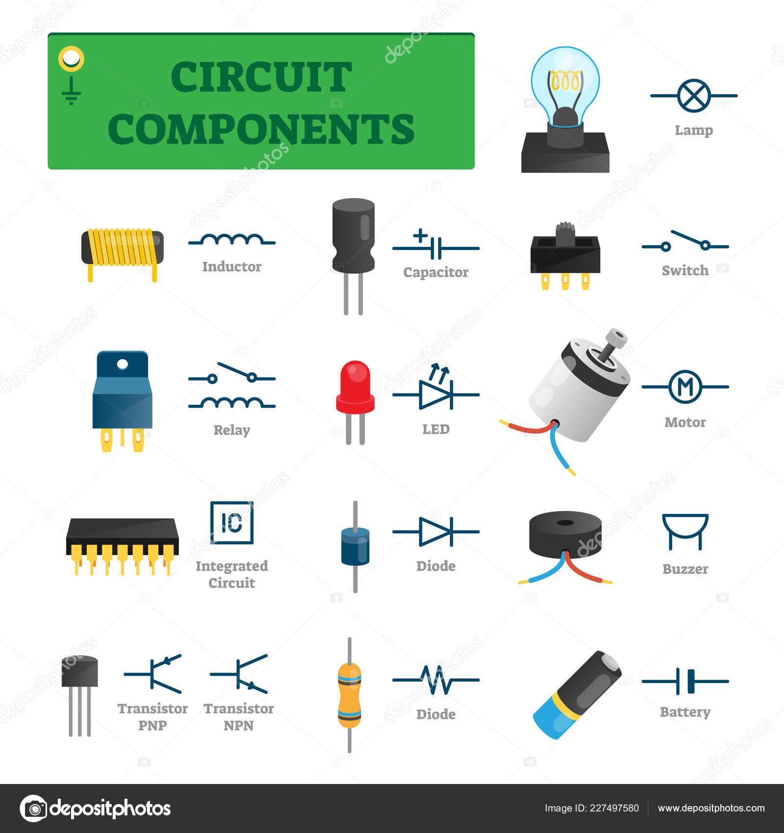 Soucasti Obvodu Vektorove Ilustrace Seznam S Izolovane Elektricke