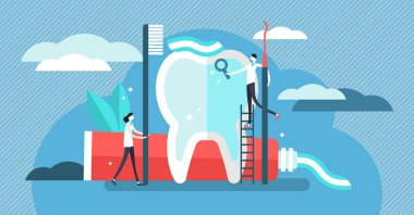 Dentist vector illustration. Mini persons with toothpaste tool flat concept
