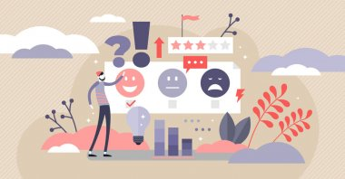 Feedback vector illustration. Flat tiny opinion research persons concept.