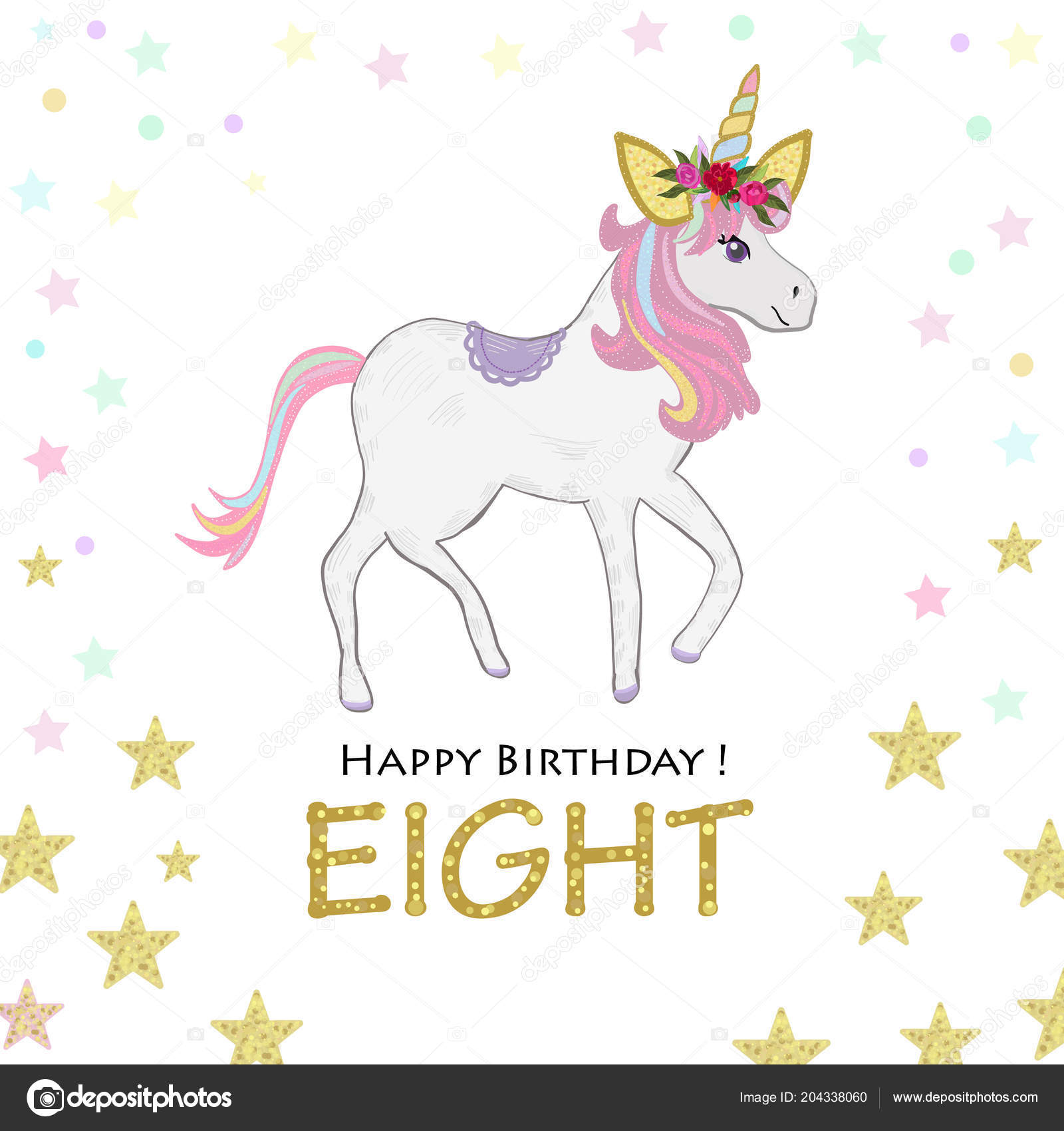 Eighth birthday greeting eigt magical unicorn birthday invitation eighth birthday greeting eigt magical unicorn birthday invitation party invitation greeting card vetor por gulsengunel stopboris Choice Image